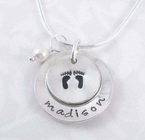 Footprints - Personalized hand stamped necklace