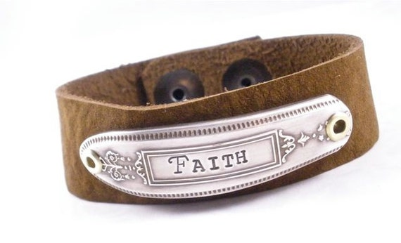 Faith bracelet - Hand stamped silver flatware leather cuff