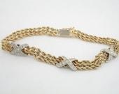 Vintage Diamond Rope Bracelet - Diamonds and 14K Gold