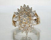 Vintage Diamond Cocktail Ring - Marquise and Round Diamond - 1.51 Carat Total Weight - Appraisal Included
