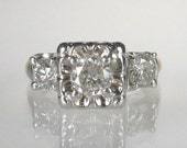 RESERVED for Hapslappy - Vintage Diamond Engagement Ring - Three Stone 0.84 Carat Total Weight - Petite Size 4
