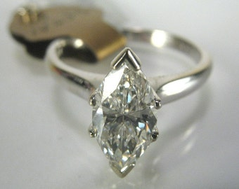 GIA Certified Marquise Diamond Vintage Engagement Ring (G-VVS2) 1.00 Carat - GIA Certificate Included
