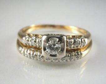 Vintage Antique Diamond Engagement Wedding Rings Set