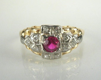 Vintage Synthetic Ruby and Diamond Ring