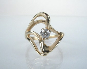 Vintage Diamond Cocktail Ring - 0.22 Carats - Unique Styling