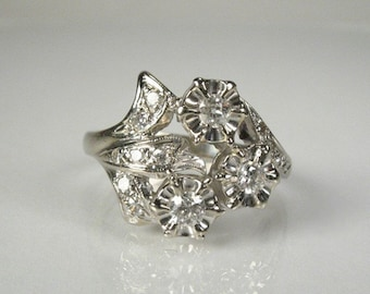 Vintage Old European Cut Diamond Cocktail Ring - Mid Century - 0.33 Carats Total Weight