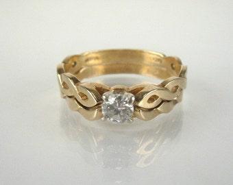 Vintage Diamond Engagement Ring and Wedding Ring Bridal Set - 0.25 Carat