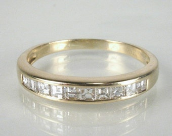 Vintage Diamond Wedding Ring - Square Step Cut Diamond Wedding Ring - 0.50 Carats - Appraisal Included