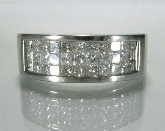 Vintage Diamond Princess Cut Diamond Wedding Band - 1.00 Carat Total Weight - Invisibly Set Diamonds