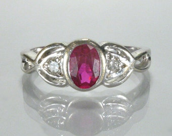 Vintage Estate Diamond and Synthetic Ruby Ring