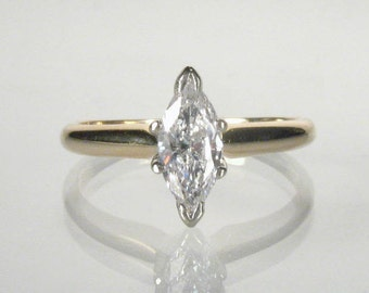 Traditional Marquise Diamond Solitaire Engagement Ring - Estate - 0.49 Carat
