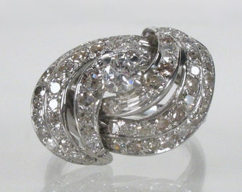 Vintage Diamond Cocktail Ring - 1.23 Carats Diamonds Total Weight - Appraisal Included 3600.00 USD