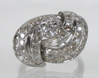 Vintage Diamond Cocktail Ring - 1.23 Carats Diamonds Total Weight - Appraisal Included