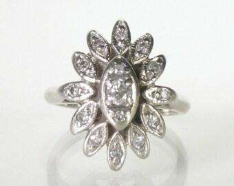 Vintage 14K Gold Diamond Cocktail Ring - Petite Size 3.75