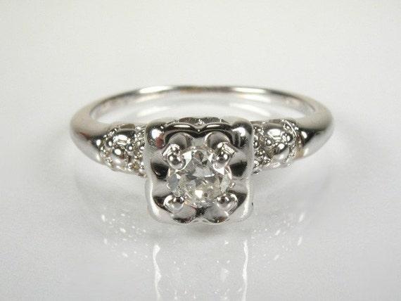 Sweet Vintage 0.18 Carat Old European Cut Diamond Engagement Ring
