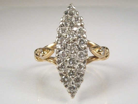 Navette Style Diamond Ring - 0.50 Carat Total Weight