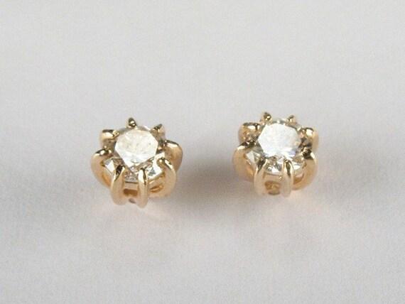 Fiery Vintage Diamond Ear Studs - 0.46 Carat Total Weight