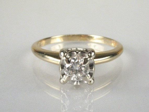 Vintage Diamond Engagement Ring - 0.25 Carat Illusion Head Setting