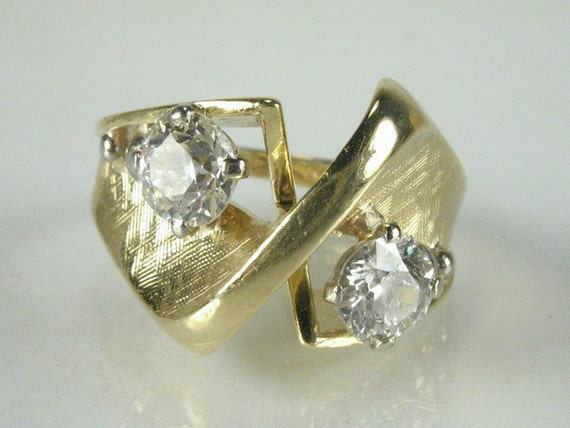 Vintage Antique Old European Cut Diamond and 18K Gold Cocktail Ring - Petite Size 3 - 0.62 Carat Total Weight - Vintage