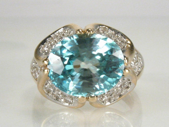 Vintage Blue Zircon Diamond Cocktail Ring - 0.56 Carat Diamond Total Weight - Appraisal Included