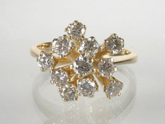 Reserved for Julia - Estate Diamond Cocktail Ring - 0.85 Carat Diamond Total Weight - 14K Yellow Gold