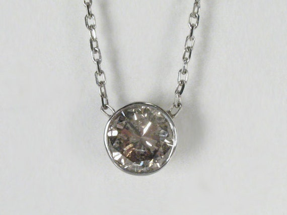 Diamond Pendant Champagne/Light Brown Diamond Pendant - 1.08 Carat Bezel Set Diamond Solitaire