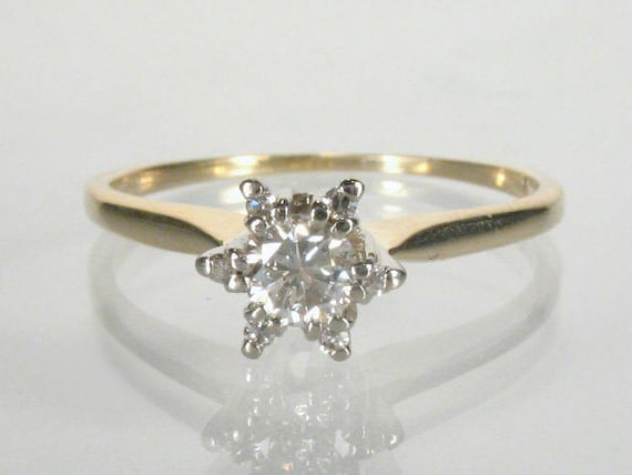 Reserved For Kathy - Orange Blossom Diamond Engagement Ring - 0.21 Carats Total Weight