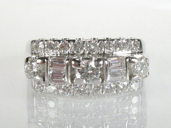 Vintage Diamond Wedding Ring - Round And Baguette Diamonds - 0.81 Carats Total Weight - Appraisal Included