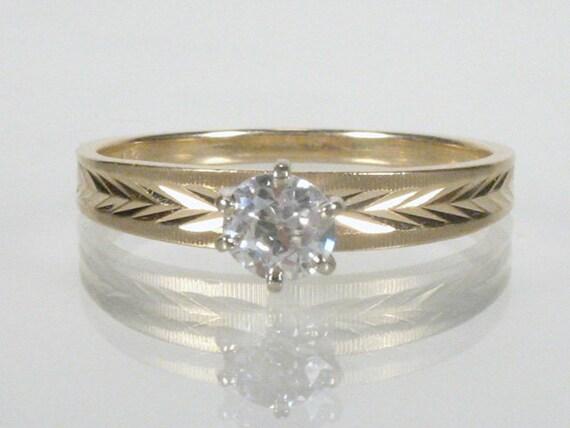 Old European Cut Diamond Engagement Ring - 0.30 Carats