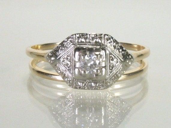Wedding Rings Set - Diamond 10K Gold - Antique
