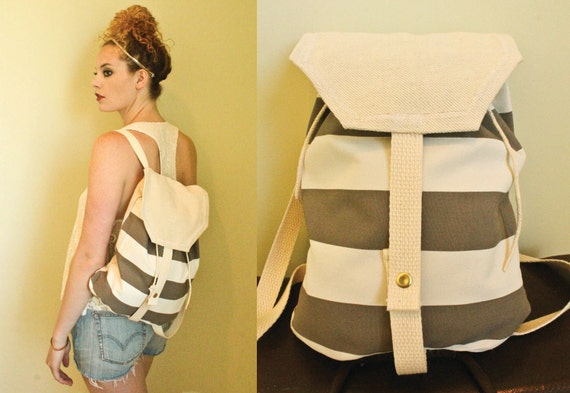 SALE Seabird Beach Backpack, gray stripe canvas tote