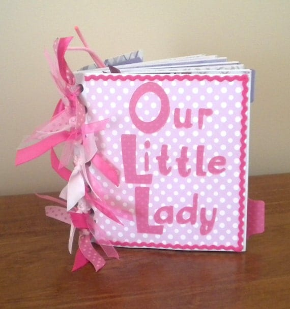 "Paper Bag Photo Album ""Our Little Lady"" Brag Book  GIRL (premade pages)"