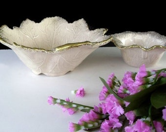LEAF Design BOWLS * California Original * Set of Two Bowls * Home Decor