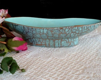Pottery Bowl / Dish * Turquoise and Gold * CALIFORNIA USA * Home Decor