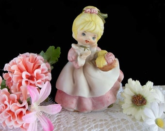 Vintage Figurine * Young Girl Holding Basket of Yarn  * 1972*  SUPREME SESSION OKLAHOMA
