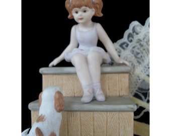 Coin Bank * Ballerina Girl And Puppy * WILLITS Vintage Ceramic Bank