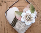 Shabby Primitive Heart Ornament