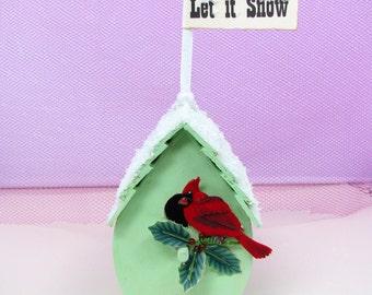 Christmas Green Mini Bird House Decoration