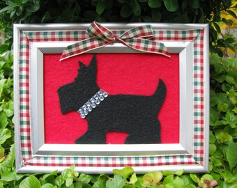 Framed Scottie Dog Ornament Decoration Felt