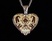 Broken china jewelry heart pendant necklace Art Norveau blossom made from broken plate