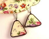 Matching Broken Plate Necklaces Vintage Floral Chintz Recycled China Broken China Jewelry