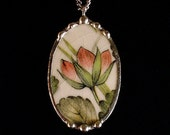 Broken china jewelry necklace pendant oval lotus flower wedgwood