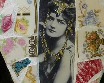 Art Diva vintage image antique rose china broken china mosaic heart wall decor