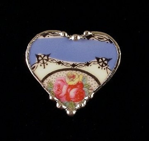Victorian Floral Broken China Jewelry Heart Pin Brooch