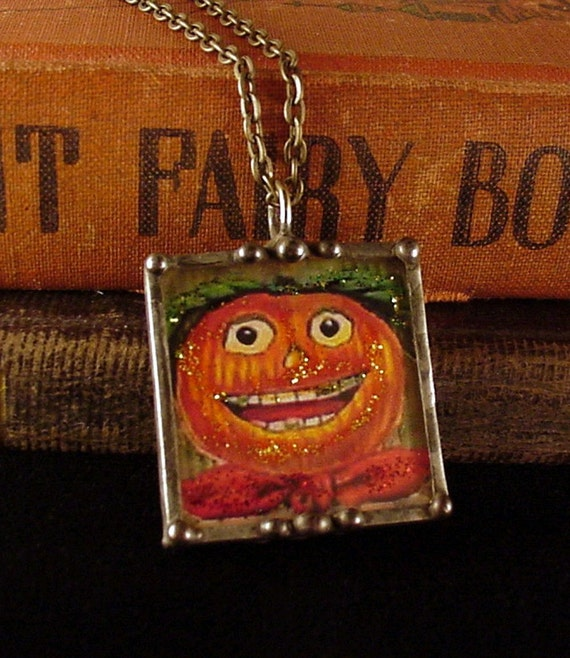 Vintage Halloween Postcard Reversible Pendant Necklace, happy anthropomorphic pumpkin girl, witch