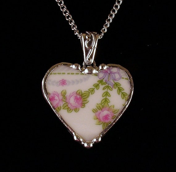 Broken china jewelry heart pendant necklace pink roses swag made from broken china plate