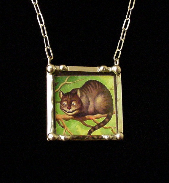 Cheshire Cat behind beveled glass vintage inspired art necklace
