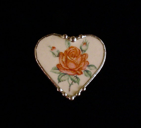 Valentine Broken china jewelry pin brooch heart Red rose made from a broken plate