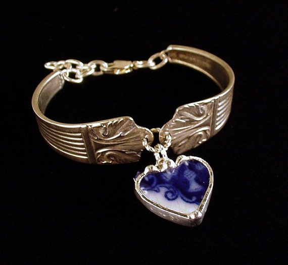 Antique Silver Spoon Bracelet with broken china jewelry Flow Blue thistle heart charm