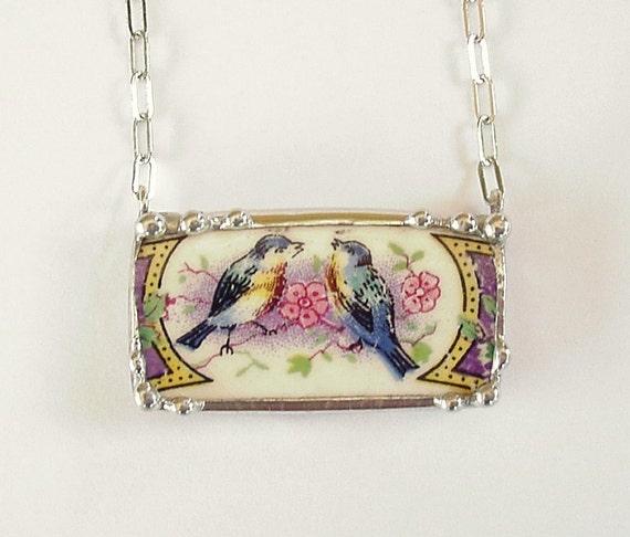 Antique bluebird china broken plate broken china jewelry necklace